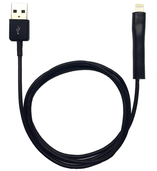 Black 1 Meter (3 foot) Lightning Cable with CordCondom Applied